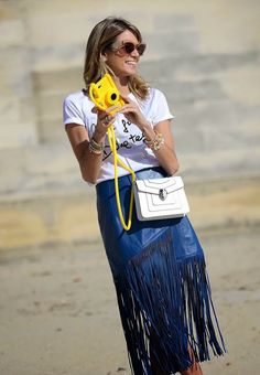 How To Wear The leather Fringe skirt Trend