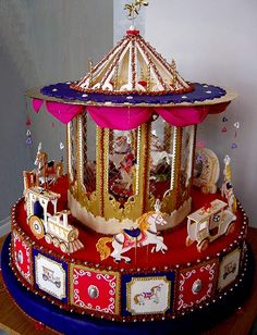 Карусель - carousel cake.  Chicken wire - is that clear candy?  An actual mesh?