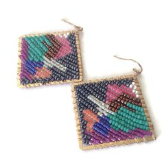 Colorful beaded teardrop statement earrings by stonepoetry on Etsy, $76.00