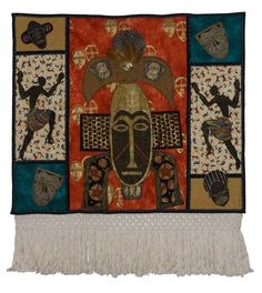 """""""Mask-parade"""" Art Quilt in a Private Collection"""
