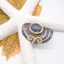 Obsidian schwarz grau gold gothic Design Ring Ø mm 925 Sterling Silber neu Gothic, Black Rhodium, Cufflinks, Gold, Design, Accessories, Fashion, Silver, Ring