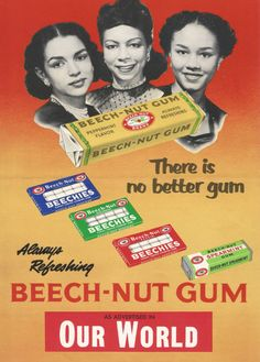 Vintage retro Beech-nut gum Beechies ad advertisement black