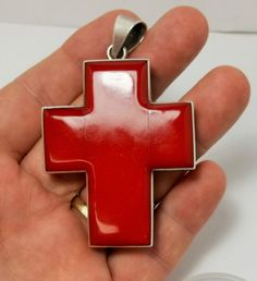 Vintage Mexico Sterling Silver Large Red Coral Cross Pendant 43 Grams Make Offer #Unbranded