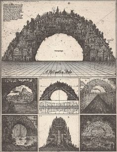 ART DESIGN Constrained by the Limitations of Soviet-Era Architecture, Brodsky & Utkin Imagined Fantastical Structures on Paper - Hill with a Hole, Courtesy of Ronald Feldman Fine Arts Inc. Paper Architecture, Russian Architecture, Colossal Art, Abstract Print, Monuments, Art Sketches, Concept Art, Illustration Art, Fine Art