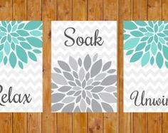 Flower Burst  Turquiose Grey Gray Wall Decor Spa Bathroom Relax Soak Unwind Set of 3- 5x7 DIY Printable Instant Download (139)