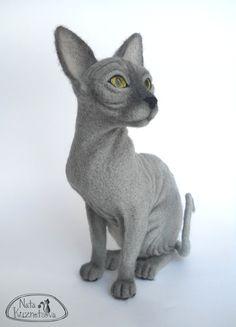 Needle felted sphinx cat by Nata Kuznetseva