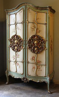 Antique Venetian Painted Armoire | Antique Formal Armoires | Inessa Stewart's Antiques