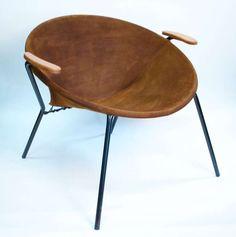 Erik Ole Jørgensen; Painted Metal, Suede and Wood Armchair for Bovirke, c1950.