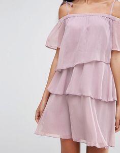 Image 3 ofASOS TALL Off Shoulder Mini Dress In Chiffon