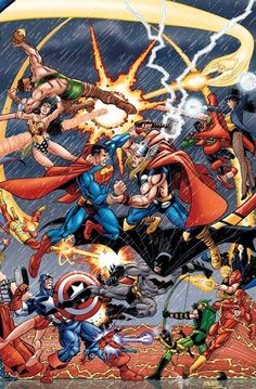 Dc vs Marvel, great cover pitching marquee matchups. Hercules vs Wonderwoman, Superman vs Thor, Captain America vs Batman.