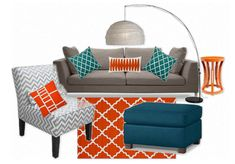 I like this mainly for the shade of the ottoman, that's the perfect peacock teal - LivingRoom TealOrange by amhughes4 | Olioboard