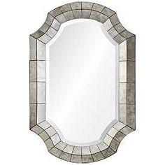 "Clarke Antique Mirror 24"" x 36"" Octagonal Wall Mirror White Wall Mirrors, Rustic Wall Mirrors, Round Wall Mirror, Mirror Set, Mirror Ideas, Mirror Hanging, Mirror Glass, Wall Ideas, Bath Mirrors"