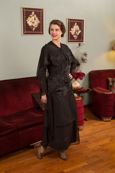 Vintage Edwardian Dress  Gothically Beautiful Silk by FabGabs