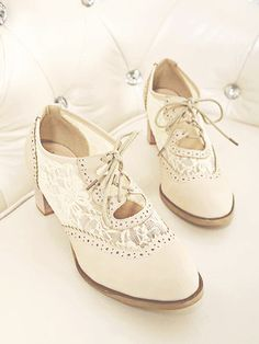 Lace Oxfords (Apricot) from Dolly Dynamite