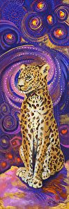 """Leopard by Nancee Jean Busse Acrylic ~ 18"""" x 6""""Original Contemporary Colorful Wildlife Leopard Painting """"Leopard"""" by Colorado Artist Nancee Jean Busse"""