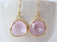 Clear pink glass earrings in gold