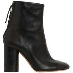 ISABEL MARANT 90mm Grover Leather Ankle Boots ($1,035) ❤ liked on Polyvore featuring shoes, boots, ankle booties, ankle boot, heels, black, ankle boots, leather booties, black leather booties and black heel boots