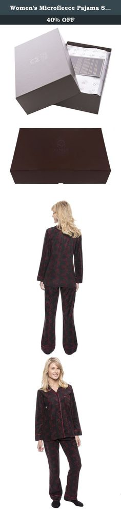Women's Microfleece Pajama Sleepwear Set - Hearts Black/Red - Medium. 100% Premium Super Soft Micro-Polyester. Perfect for fall/winter chill. Long sleeve top with attractive collar, front pocket,cuffed sleeve and satin piping. Pant with elastic waistband and drawstring for comfort sizing. Two side seam pockets on bottoms. Machine wash cold,gentle cycle / Tumble dry low / Only non-chlorine bleach when needed.