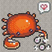 Crab Bubbles Avatar  Cross x stitch or bead  pattern