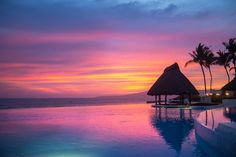 lncredible and beautiful at Grand Velas Riviera Nayarit. Espectacular view of Grand Velas Riviera Nayarit from the infinity pool! Golden Coast, All Inclusive Resorts, Puerto Vallarta, Mexico, Relax, Vacation, Beautiful Sunset, World, Building
