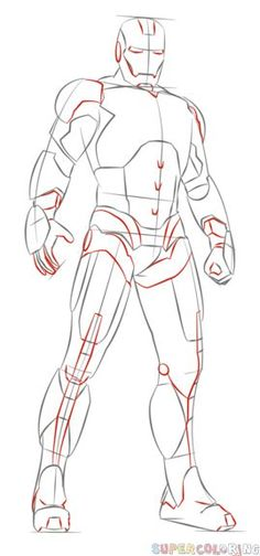 how to draw iron man step by step drawing tutorials for kids and beginners