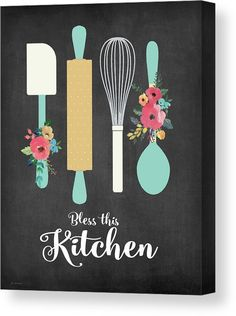 Bless This Kitchen Canvas Print by Jo Moulton. All canvas prints are professionally printed, assembled, and shipped within 3 - 4 business days and delivered ready-to-hang on your wall. Choose from multiple print sizes, border colors, and canvas materials. Kitchen Canvas Art, Kitchen Wall Art, Diy Kitchen, Kitchen Posters, Kitchen Prints, Kitchen Quotes, Bakery Logo Design, Diy Canvas Art, Canvas Ideas
