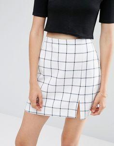 ASOS - Mini-jupe fendue à carreaux