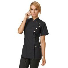 Chef Jacket for Women - Kelly by Siggi Beuty - S / Black - Kitchen Social Club - 1 Salon Uniform, Spa Uniform, Scrubs Uniform, Staff Uniforms, Medical Uniforms, Work Uniforms, Restaurant Uniforms, Iranian Women Fashion, Uniform Design