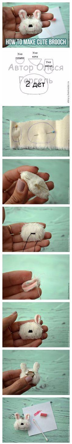 How to make cute Rabbit brooch   Мастерим забавную звероброшку