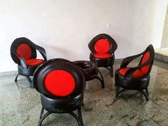 Seating idea for a home bar or man cave. Chairs made out of tyres.