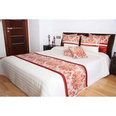 Luxusní přehozy na postel v bílé barvě s ornamenty - dumdekorace.cz