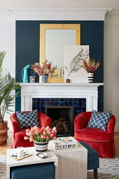 Red, white, and blue decor never looked so stylish! Decorate your home with stars, stripes, and patriotic colors to show off your American pride. These looks are perfect for summer holidays but can also last all year round. #redwhiteandbluedecor #homedecorideas #interiordesign #4thofjuly #bhg Burgundy Living Room, Living Room Red, Colourful Living Room, Living Room Color Schemes, Blue Color Schemes, Living Room Interior, Living Room Decor, Maroon Bedroom, Bedroom Red