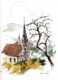 fr/Monographie Robert Kuven Plus Pen And Watercolor, Watercolor Artists, Watercolor Techniques, Watercolor Landscape, Landscape Paintings, Landscapes, Art And Illustration, Illustrations, Art Sketches