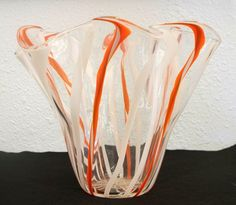 Hand Blown Glass Art Vase Orange and White Cane Art Of Glass, Blown Glass Art, Glass Vase, Painting Courses, Glass Museum, Forging Metal, Flower Stands, Blacksmithing, Beautiful Hands