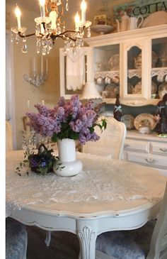 Lilac Vintage...white painted dining room...cottage shabby