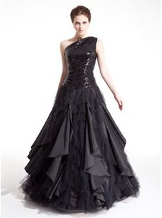 A-Line/Princess One-Shoulder Floor-Length Satin Tulle Prom Dresses With Beading (018004860)
