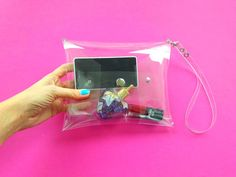 Clear wristlet bag NFL policy bag stadium wristlet by YPSILONBAGS