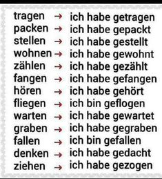 German past verbs Study German, German English, German Lesson, German Grammar, German Words, German Language Learning, Learn A New Language, Dual Language, English Language
