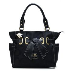 Look Here! Coach Poppy Bowknot Signature Medium Black Totes ANB Outlet Online