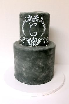 A chalkboard wedding cake is the best way to show you and your partners individuality! #Urbanicing #customcakes #chalkcake
