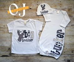Big Brother Little Brother Deer Personalized Baby Boy Newborn Gift Set - Name Boy Blue and Gray Deer - Brothers Shirt Gown and Hat