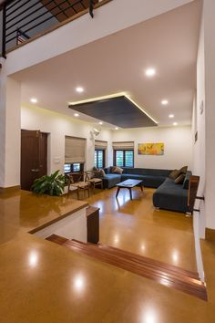 Kerala: This bungalow brings together the past and the present Village House Design, Bungalow House Design, Living Room Kerala, Indian Home Interior, Kerala Houses, Living Room Flooring, Formal Living Rooms, Modern Living, Home Room Design