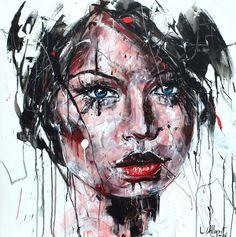 HEART TO HEART Acrylique & fusain sur toile 80x80cm 2016 http://www.lucile.callegari.fr