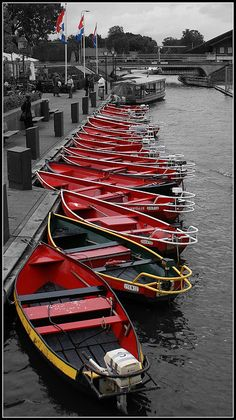 Red boats, Giethoorn, The Netherlands