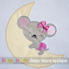 Sleeping Mouse - Hang to Dry Applique Quilt Block Patterns, Applique Patterns, Applique Quilts, Pattern Blocks, Applique Designs, Embroidery Applique, Quilt Blocks, Machine Embroidery, Embroidery Designs