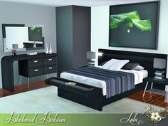 A modern Bedroom in black and light grey wood , with touches of blue and green. 2 variations , Decor slots on the bed base table  Found in TSR Category 'Sims 3 Adult Bedroom Sets'
