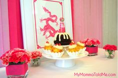 Pink Year of the Dragon themed dessert table for girl's first year Korean birthday, or Dol Janchi