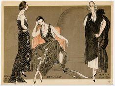 Fashion illustration from la Mode pour l'Automne 1920. Dessinee par Simeon.