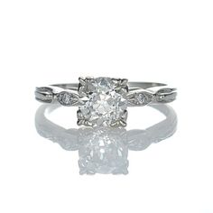 Replica Art Deco Engagement Ring - exact replica of an original circa 1940s vintage engagement ring.