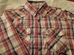 Wrangler Men's Long Sleeve Snap Front Western Style Shirt Size M Red/Black/Tan #Wrangler #Western